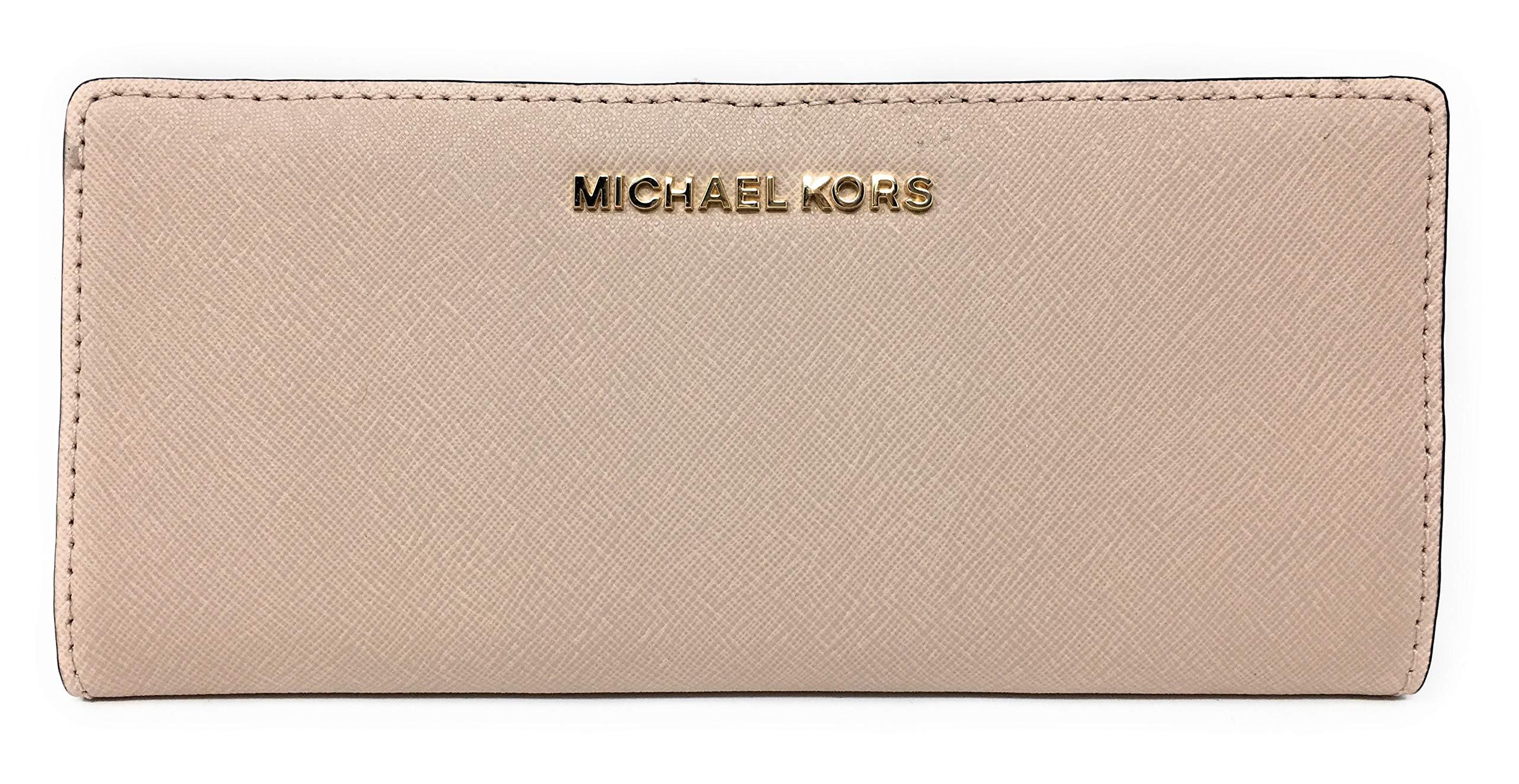 Michael Kors Jet Set Travel Flat Slim Bifold Saffiano Leather Wallet (Ballet)