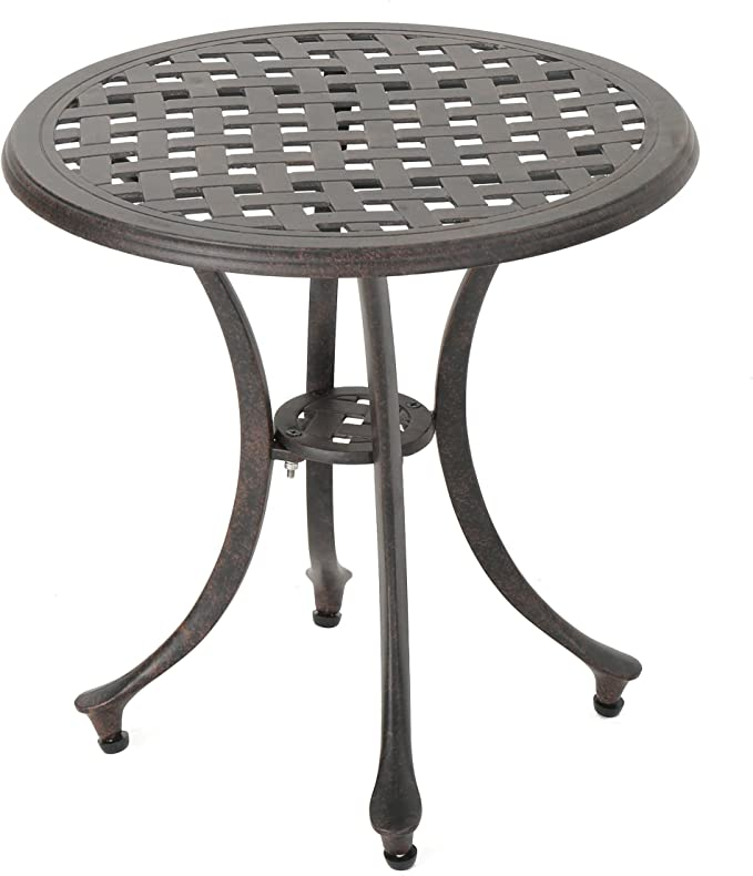 Christopher Knight Home Lola Outdoor 19 Cast Aluminum Side Table Bronze Finished Garden Outdoor Amazon Com