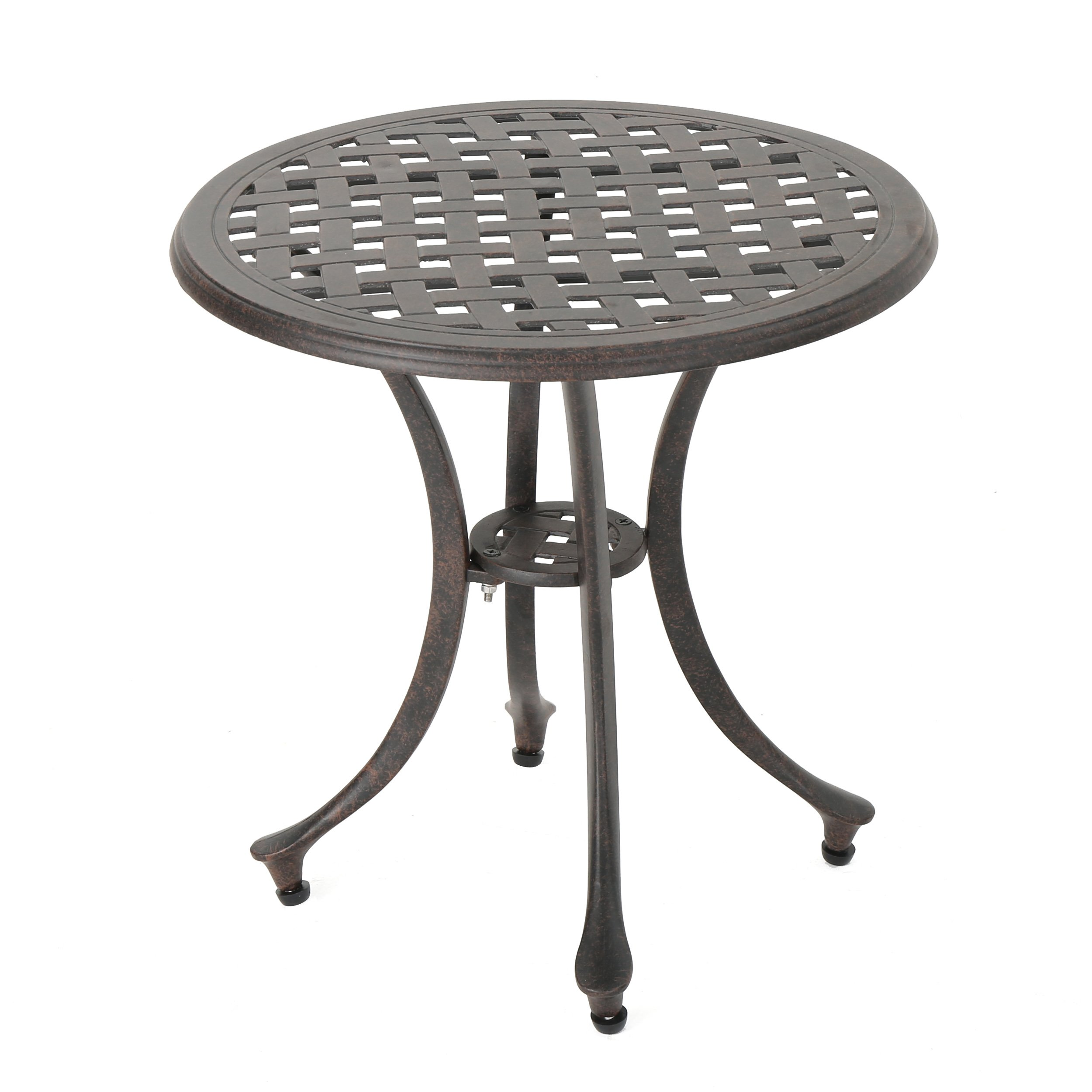 GDF Studio Louis Outdoor 19'' Bronze Finished Cast Aluminum Side Table