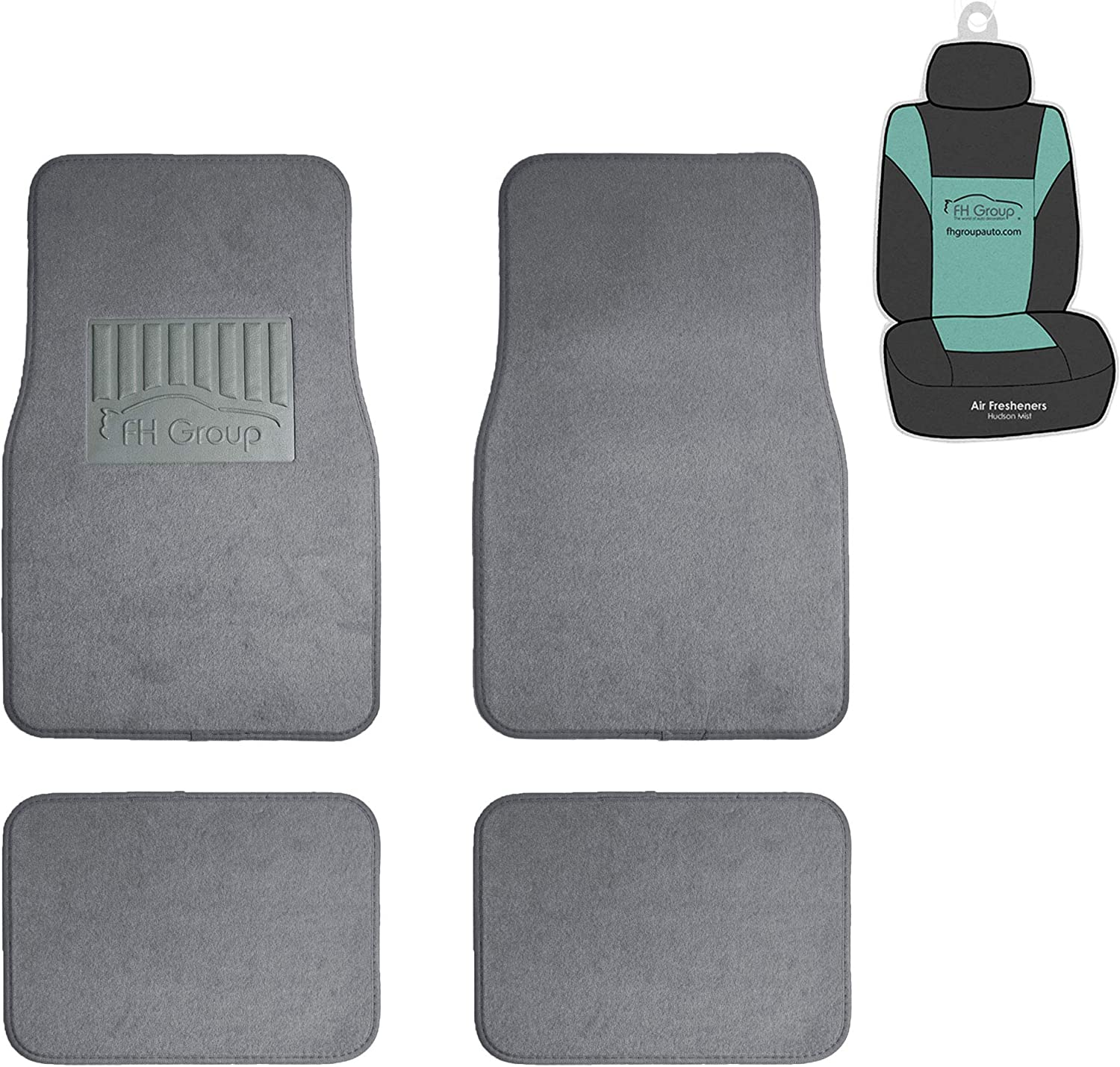 FH Group F14402 Premium Carpet Floor Mats with Heel Pad (Gray) Full Set with Gift - Universal Fit for Cars Trucks and SUVs