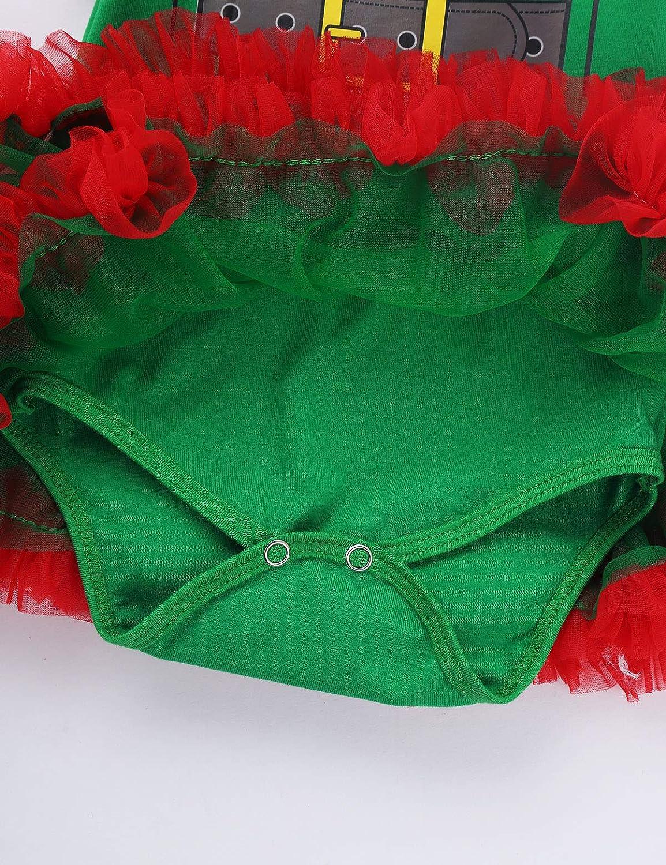 TiaoBug B/éb/é Fille D/éguisement Lutin No/ël Elfe Robe F/ée Princesse Body Barboteuse Naissance Combinaison Jambi/ère Bandeau Ensemble de F/ête Costume Santa 0-12 Mois