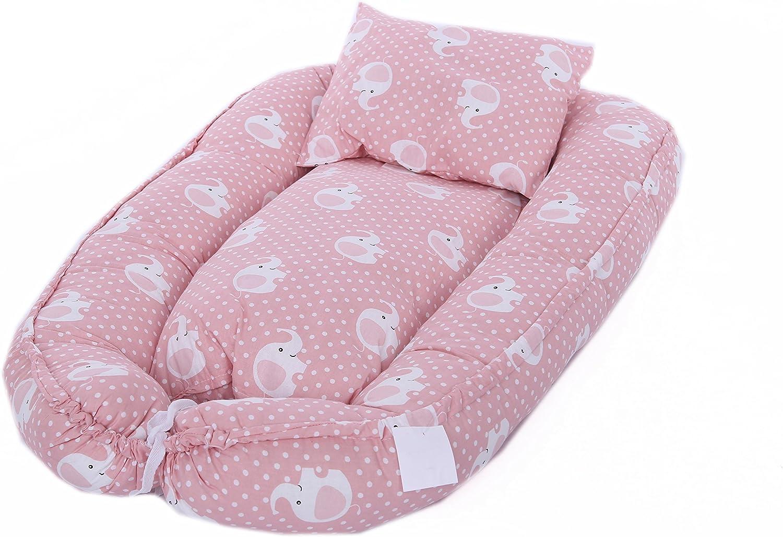 Baby de nido Cuna 100/% algod/ón cambiador 80 x 45 cm MyHoppi Baby Nest manta multifuncional Nido para beb/és y lactantes cuna de viaje marr/ón Elefant-Rosa