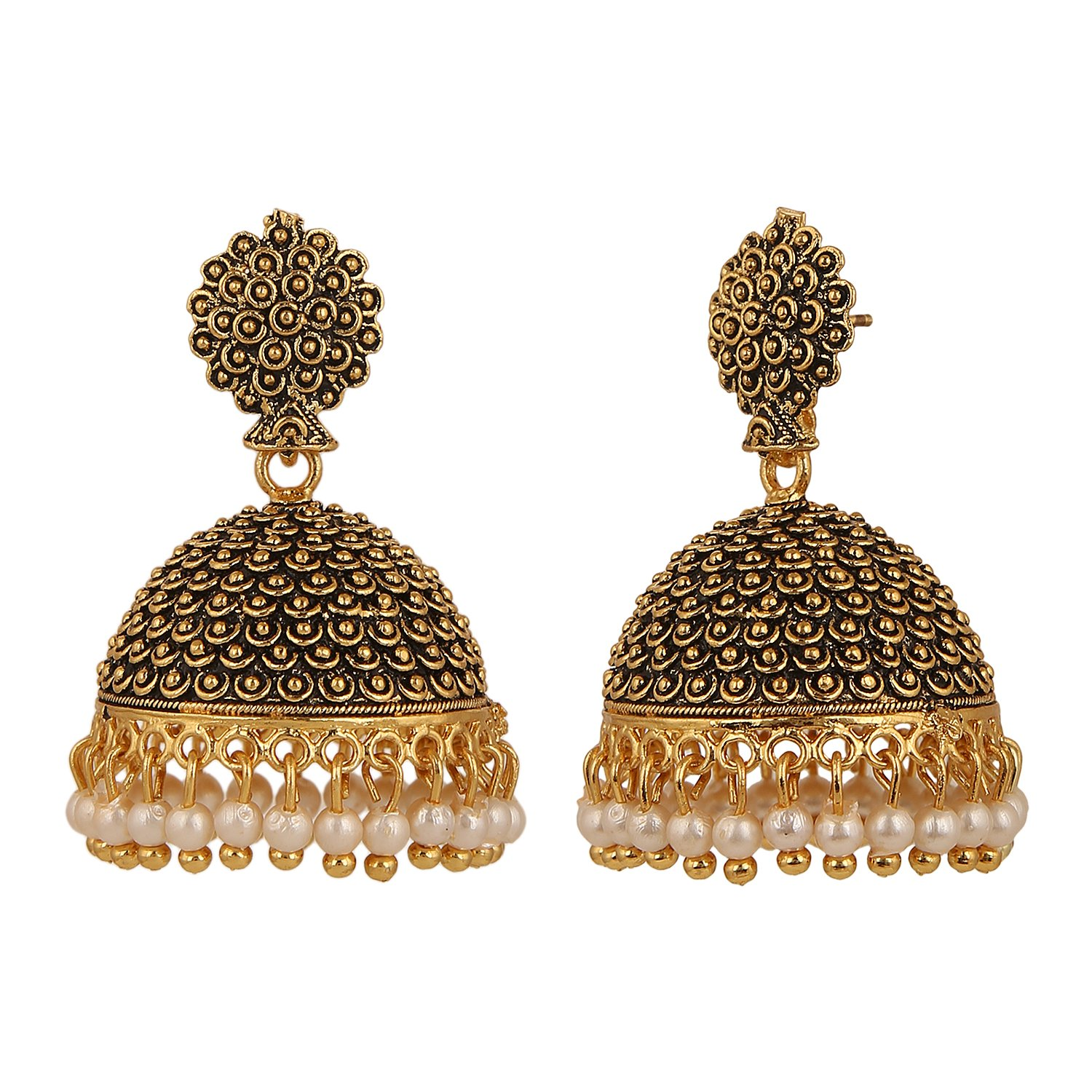 Efulgenz Indian Vintage Bollywood Gypsy Oxidized Gold Plated Traditional Jhumka Jhumki Earrings for Women and Girls (White+Yellow) by Efulgenz (Image #3)