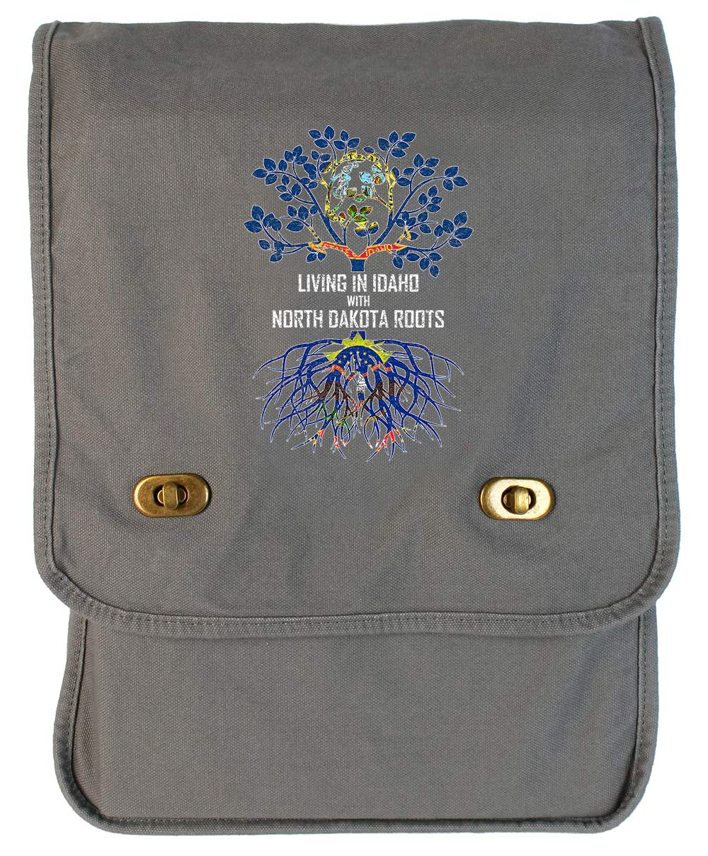 Tenacitee Living In Idaho with North Dakota Roots Grey Brushed Canvas Messenger Bag