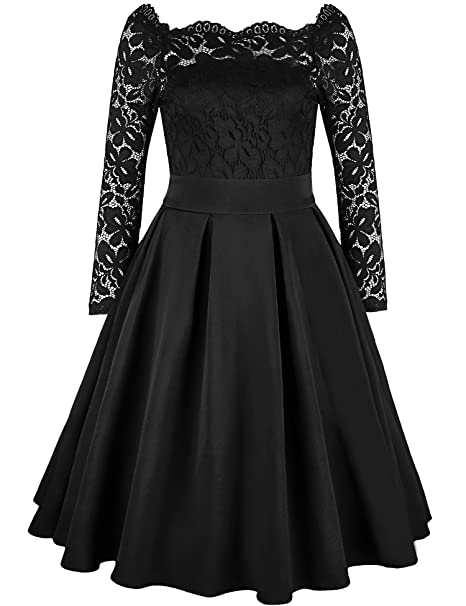 DAFUNNA Womens Vintage Floral Lace Long Sleeve Off-Shoulder Swing Dress Formal Cocktail Party Dress