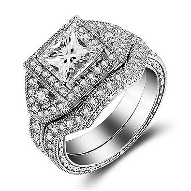 Black Sterling Silver CZ Princess Cut Women Wedding Engagement Bridal Ring Set