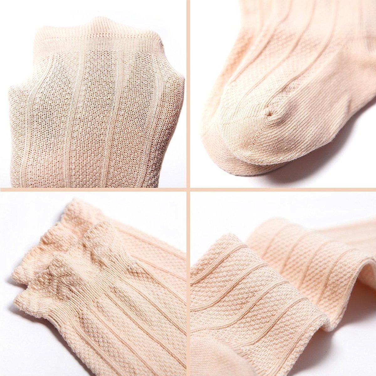 5 Pairs Baby Girls Knee High Socks Tube Ruffled Stockings for Infants Toddlers