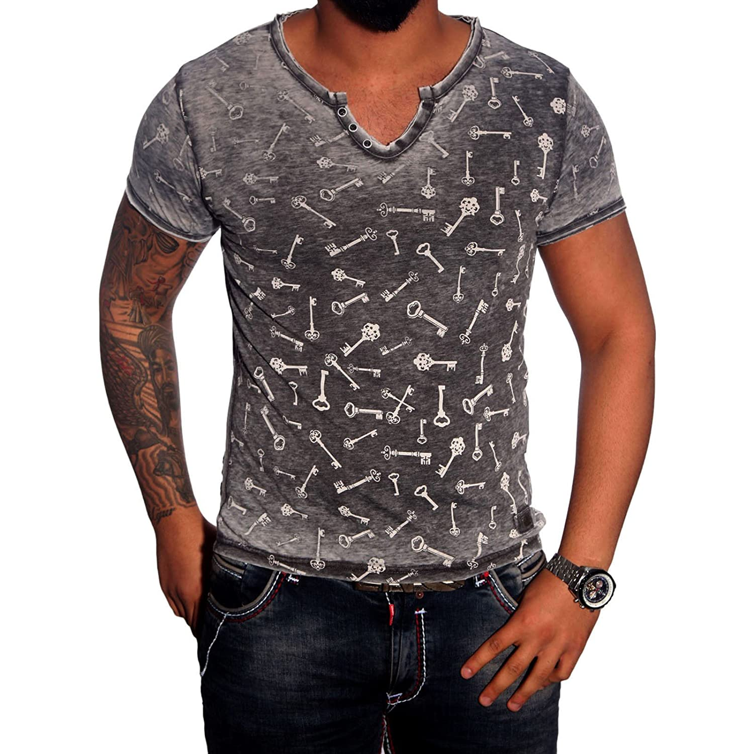 Rusty Neal Short Sleeve Men Summer Print V Neck T-Shirt With Fashion Style 6796
