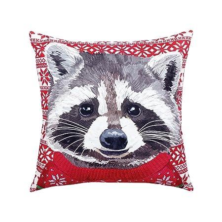 C F Home Ugly Sweater Raccoon HD Indoor Outdoor Pillow 18 x 18 Red Racoon Ugly Sweater Raccoon