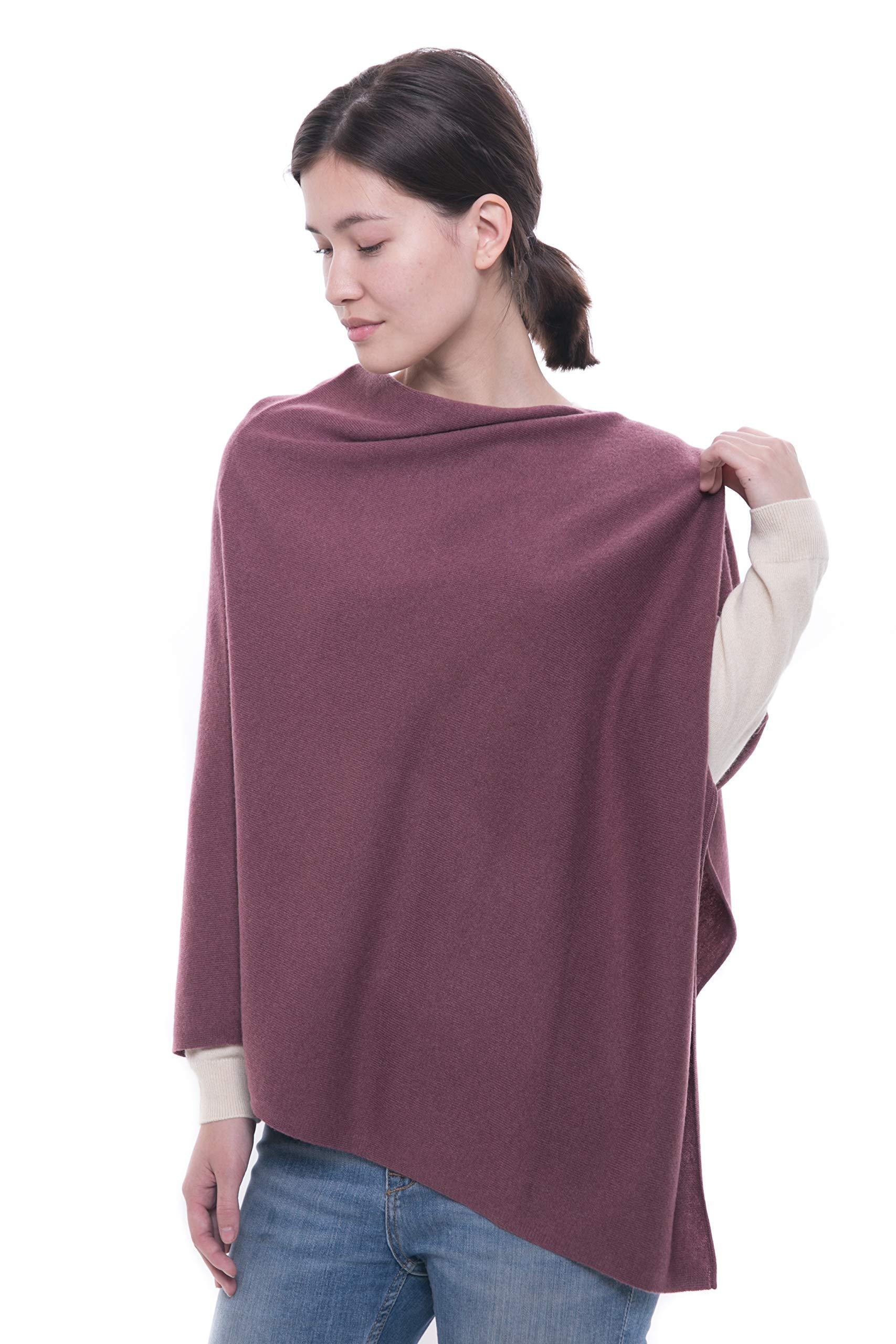 100% Pure Cashmere Poncho - Women's Draped Poncho, Cape and Dress Topper by Goyo Cashmere (English Lavender)