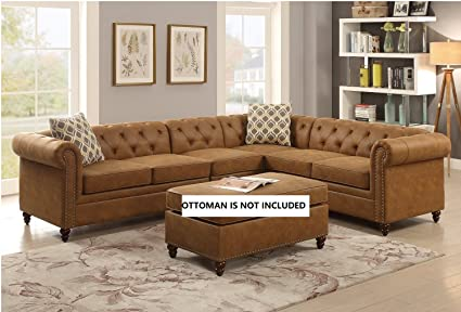 2Pcs Modern Camel Breathable Leatherette Sectional Sofa Set With Accent  Button Tufted Back And 2 Pillows