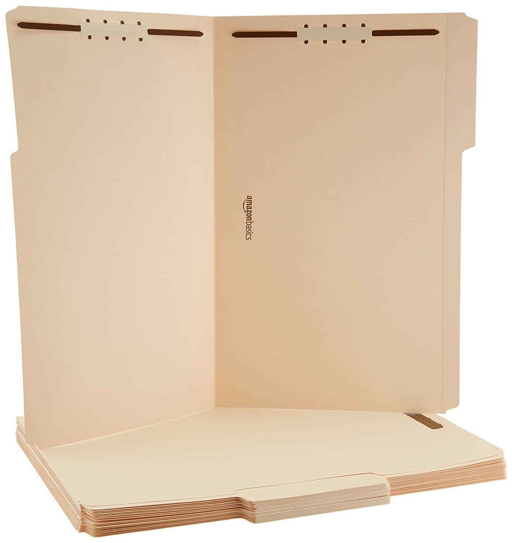 AmazonBasics Manila File Folders with Fasteners - Legal Size, 50-Pack