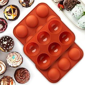 3 Pcs Medium Semi Sphere Silicone Mold, 6 Holes Circle Silicone Mold, Baking Mold for Making Hot Chocolate Bomb, Cocoa bomb mold ,Cake, Jelly, Dome Mousse