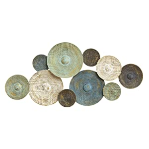 Stratton Home Decor S07662 Asheville Textured Plates Wall Decor, 46.46 W x 2.17 D x 20.08 H, Multi