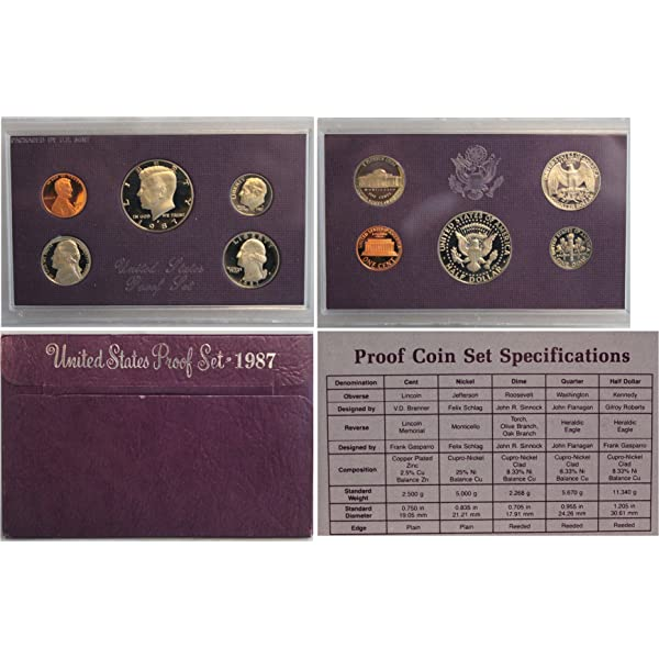 1987 S  US  Complete  Proof  set  Five Coin   Set   Free Shipping
