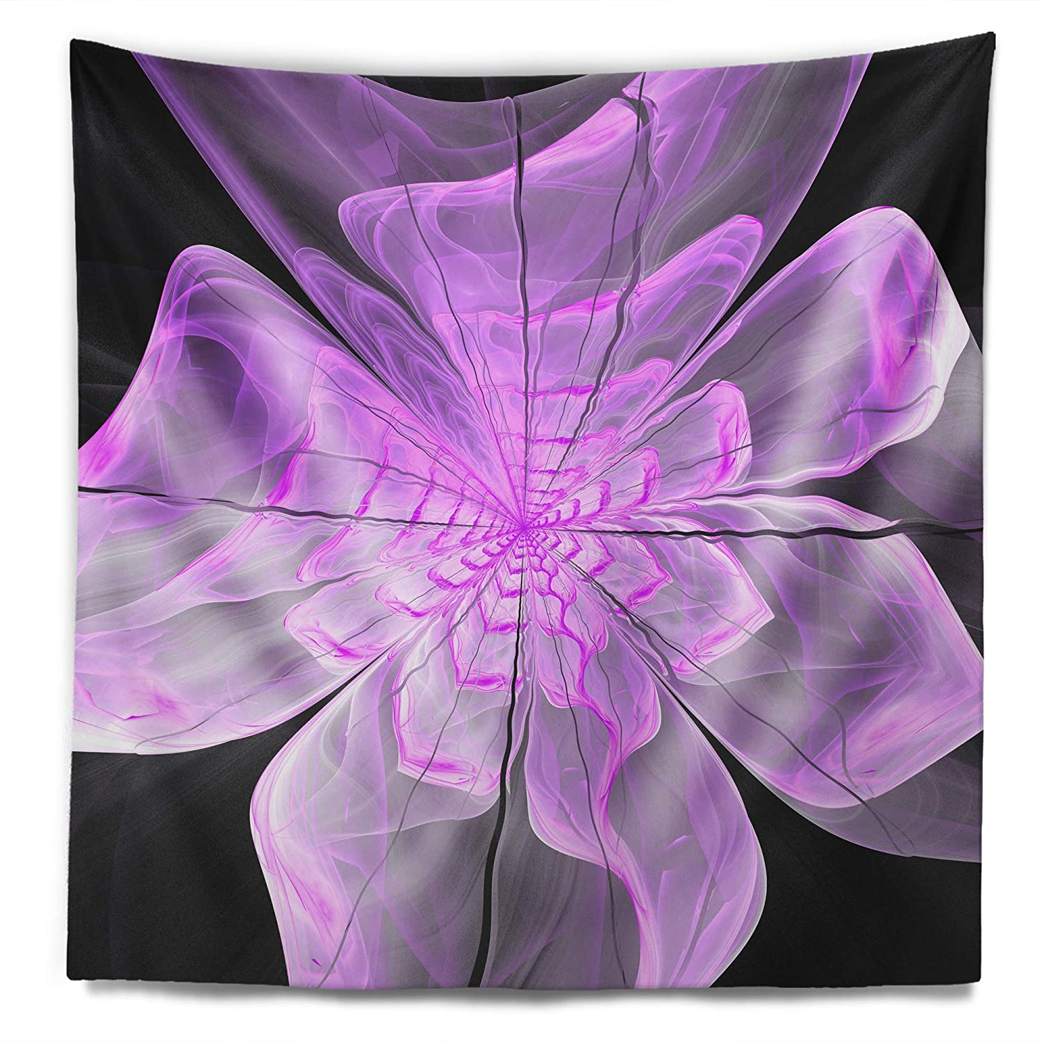 Designart TAP11993-50-60  Lush Purple Digital Fractal Flower Floral Blanket D/écor Art for Home and Office Wall Tapestry Large x 60 in Created On Lightweight Polyester Fabric 50 in