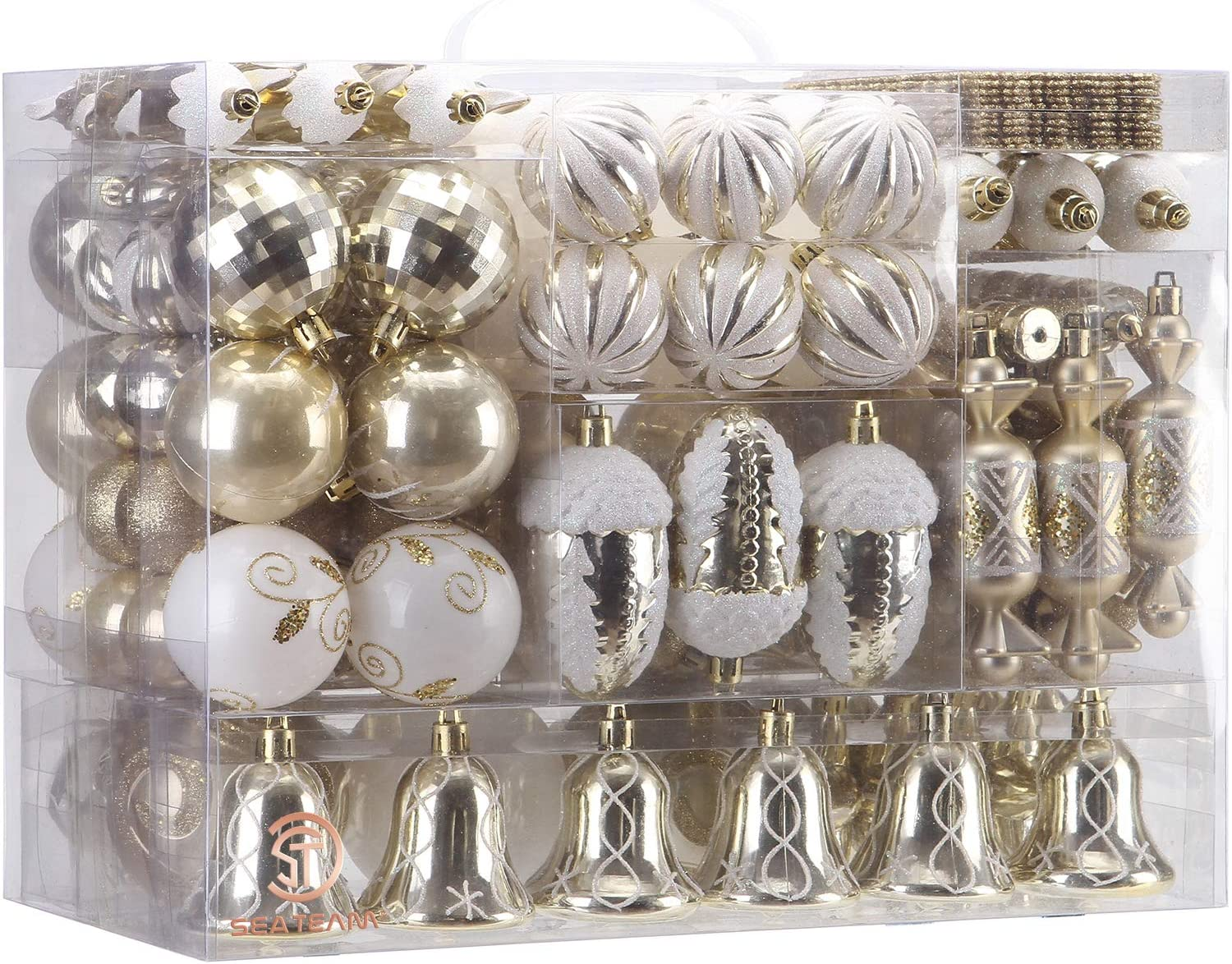 Sea Team 155-Pack Assorted Shatterproof Christmas Ball Ornaments Set Decorative Baubles Pendants with Reusable Hand-held Gift Package for Xmas Tree (Gold, 155)