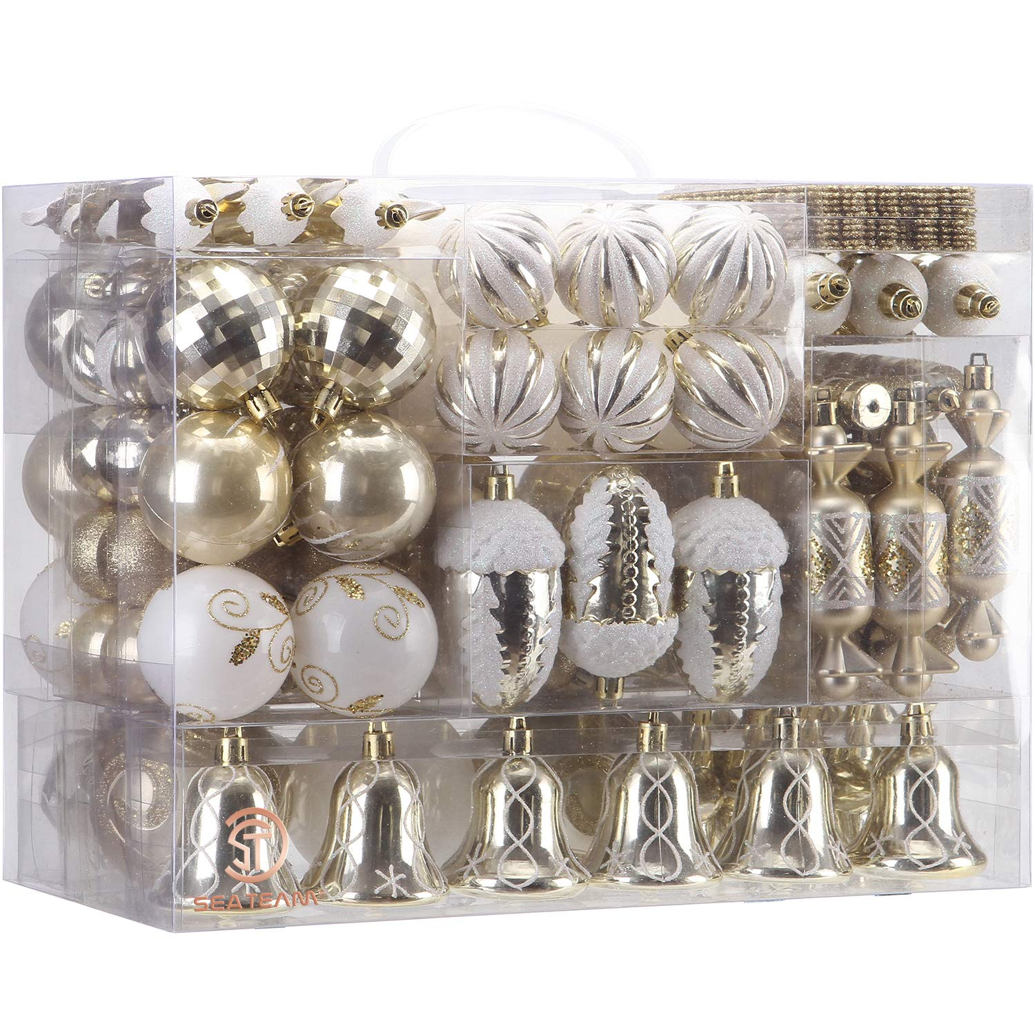 155-Pack Assorted Shatterproof Christmas Ball Ornaments