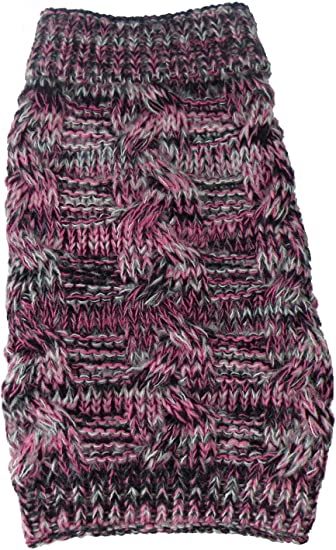 Pink PET LIFE Royal Bark Heavy Cable Knitted Designer Fashion Pet Dog Sweater Black and Grey Small