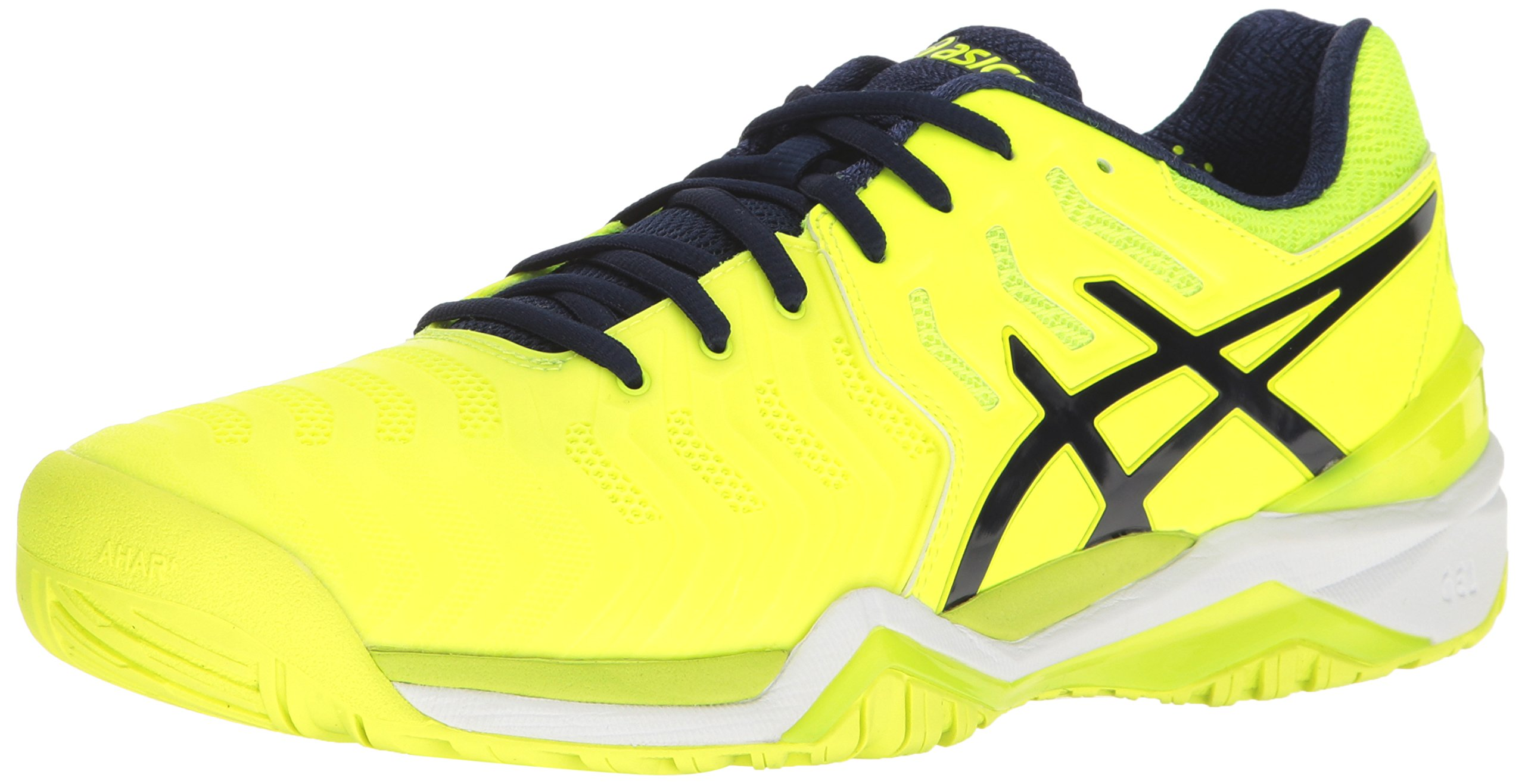 ASICS Men's Gel-Resolution 7 Tennis Shoe, Safety Yellow/Indigo Blue/White, 10.5 M US