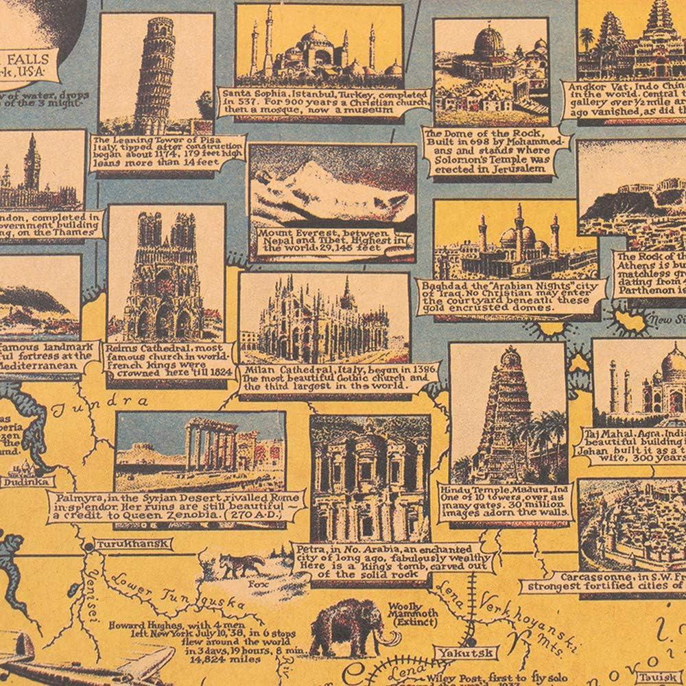 Azul,Papel de Vaca Retro afiche Mapa Mundial Gran muralla calcomanías Arte Mapa cafédecoración: Amazon.es: Deportes y aire libre