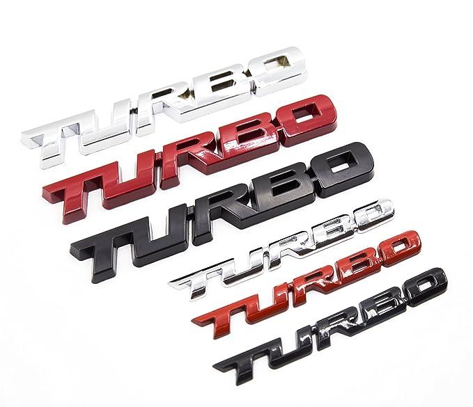 Amazon.com: LIGHTKOREA 2Pcs Small and Big Metal Turbo Emblem Side Fender Trunk Emblem Vehicle Car Motorcycle Badge Decals (Chrome Silver): Automotive