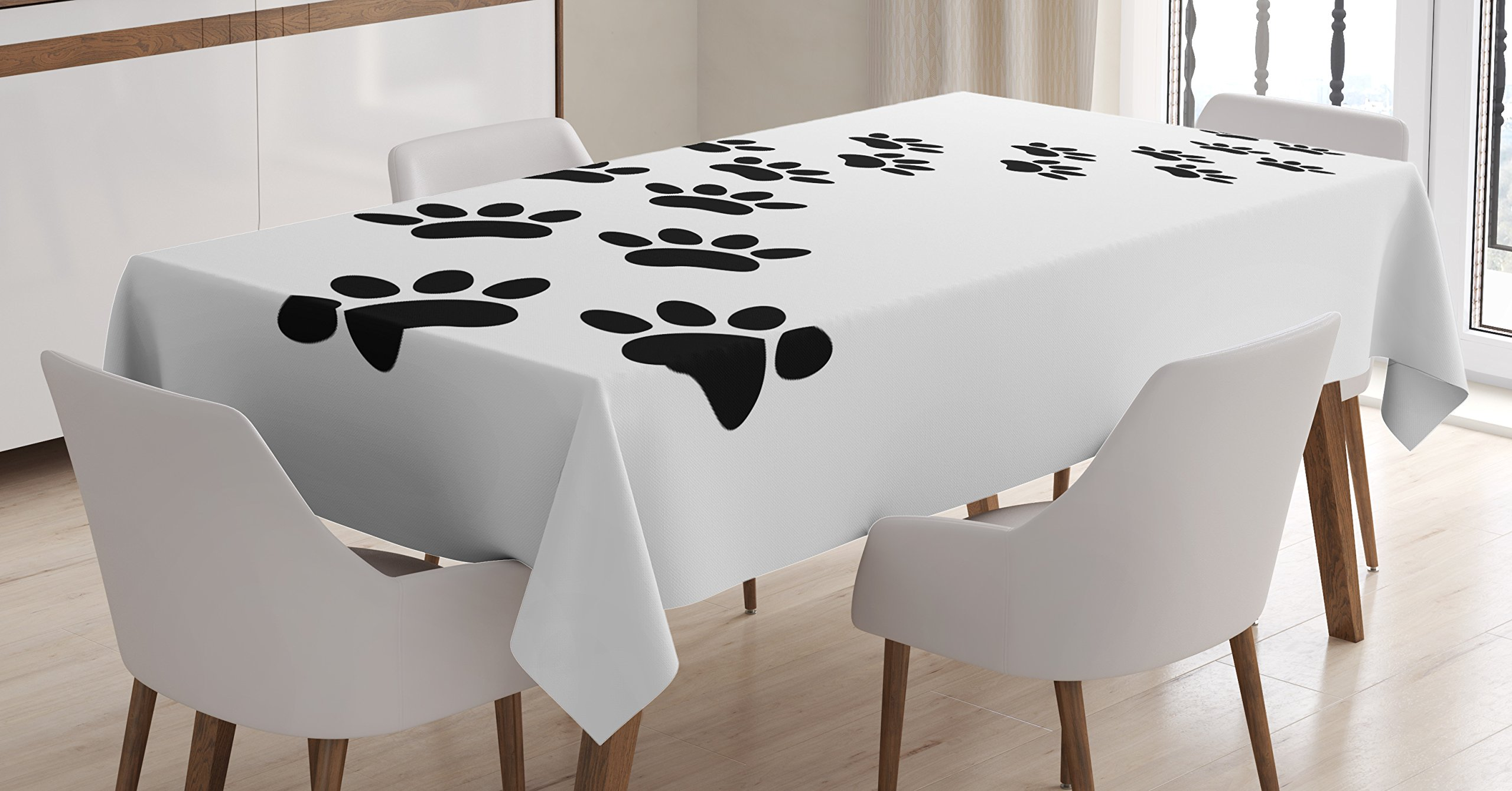 Lunarable Animal Tablecloth, Monochrome Paw Print Illustration Kitten and Dog Pet Themed Abstract Silhouettes, Dining Room Kitchen Rectangular Table Cover, 52 W X 70 L inches, Black White