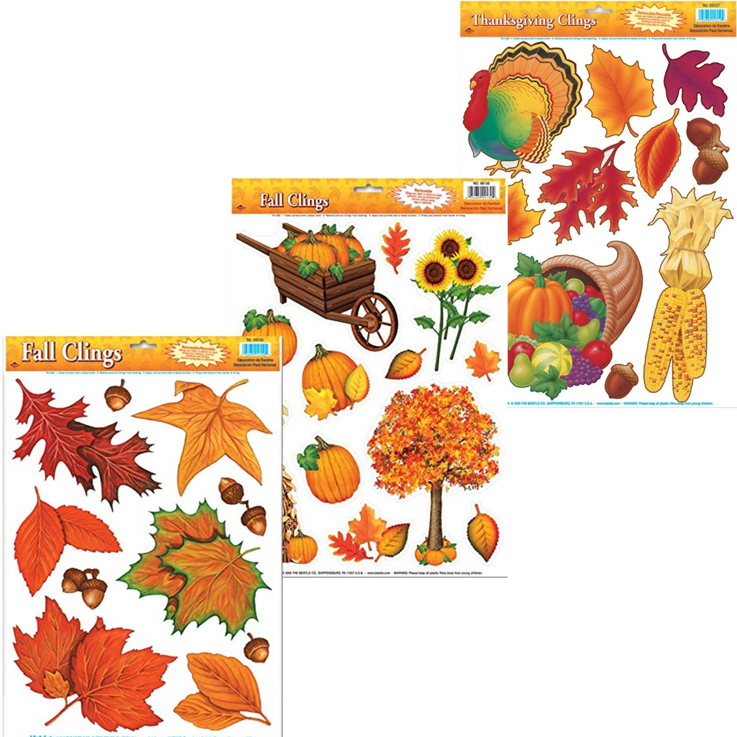 Curated Nirvana Autumn & Thanksgiving Holiday Window Clings | Seasonal Static Decals Featuring Fall Leaves and Acorns, Harvest Time Pumpkins, Indian Corn, Turkey, Cornucopia and More - 33 Total