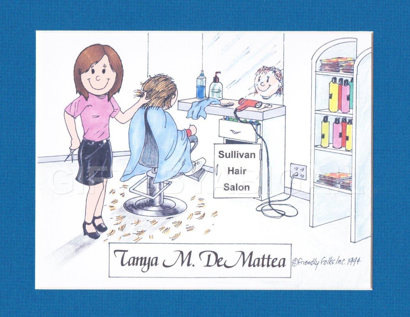 Hair Dresser Gift Personalized Custom Cartoon Print 8x10, 9x12 Magnet or Keychain