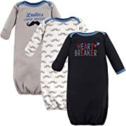 Luvable Friends Baby Cotton Gowns, Heart Breaker 3Pk, 0-6 Months