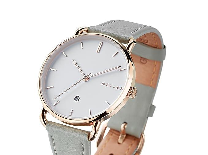 Meller Reloj Analógico para Unisex Adultos de Cuarzo con Correa en Cuero W3R-1GREY: Amazon.es: Relojes