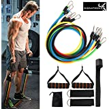 Signatron 11pc/Set Resistance Band for Exercise Heavy, Resistance Bands for Workout Include 5 Different Levels Resistance Tubes, Door Anchor, Pair of Foam Handles and Ankle Strap for Workout