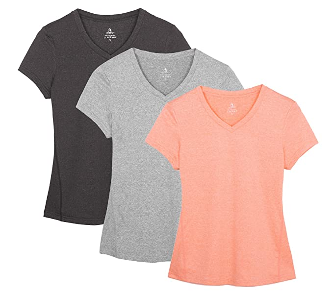 19888658dc3a icyzone Workout Shirts Yoga Tops Activewear V-Neck T-Shirts for Women  Running Fitness