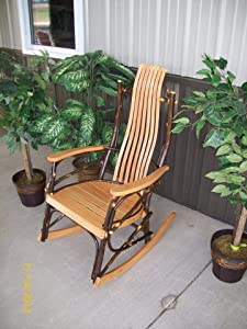 A & L Furniture Co. Amish Bentwood 7-Slat Hickory Rocking Chair - Ships Free in 5-7 Business Days