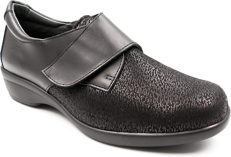 Zapatos Mujer ORTOPEDICO Linea ORTO Marca CALZAMEDI, Horma Ancho 14, Altura 3cm, Piel Elastica Color Negro, Cierre Velcro y Plantilla Extraible - 20610-7