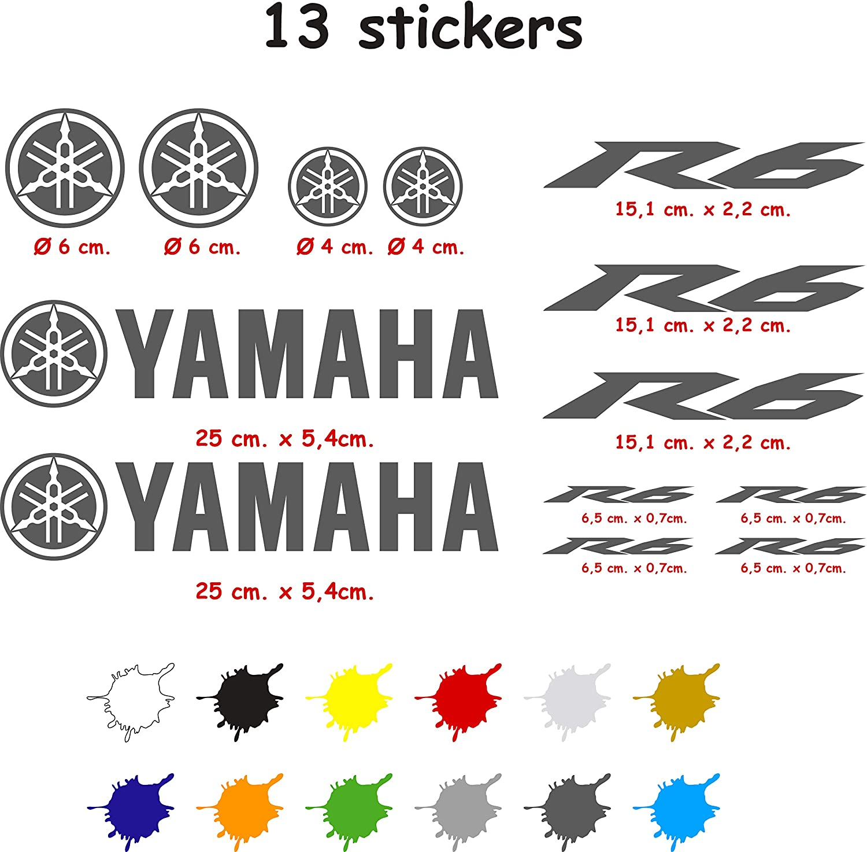 Die Cut Stickers Kit Compatible with Yamaha R6 Vinyl 5-7 Years dark blue