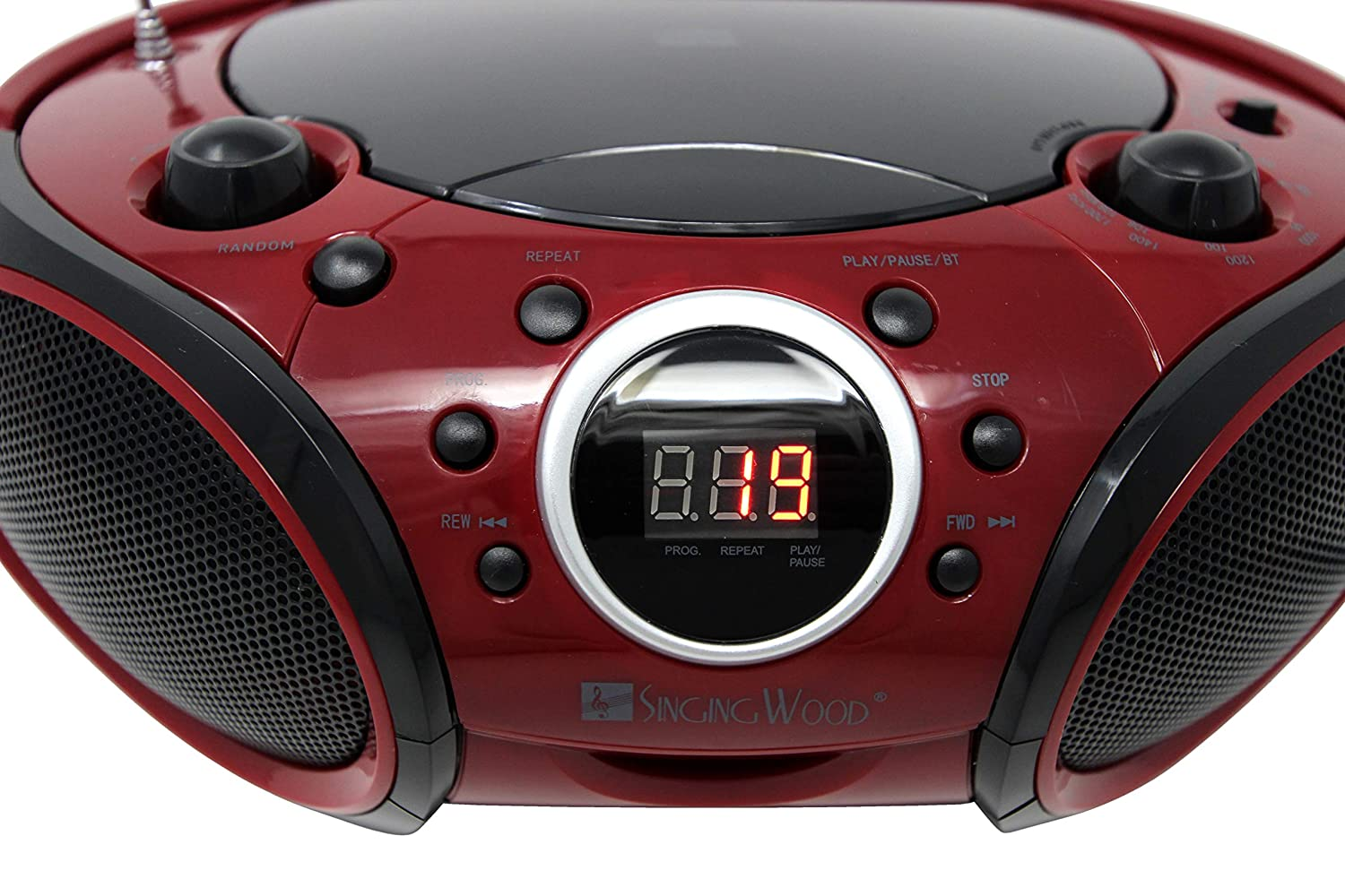 CD-R//RW Player Portable//w Bluetooth AM//FM Radio Aux Input Headset Jack Firemist Red Foldable Carrying Handle SINGING WOOD CD