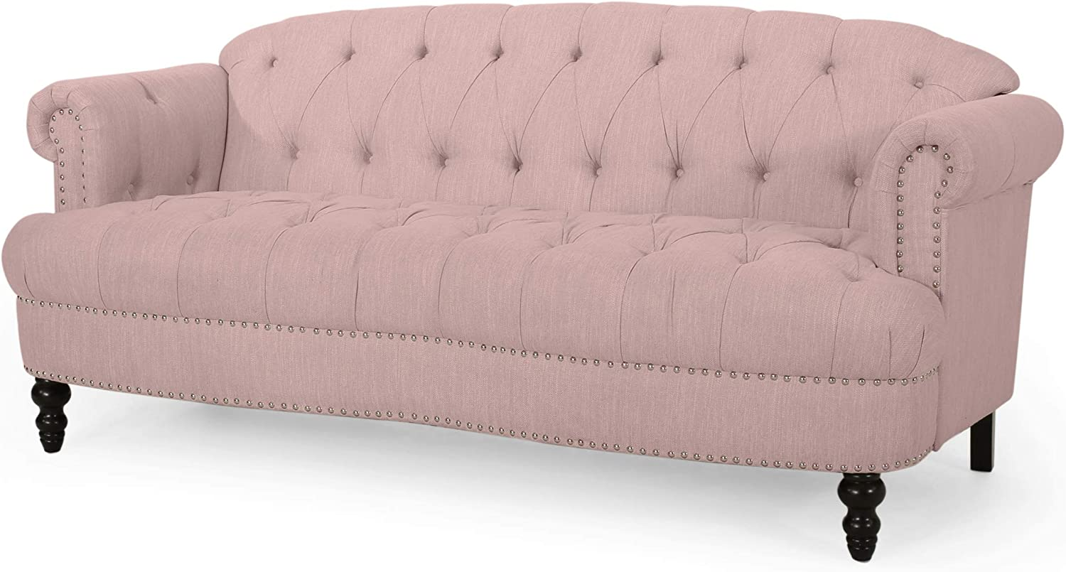 Christopher Knight Home Tracy Contemporary Deep Tufted Sofa with Nailhead Trim, Light Blush