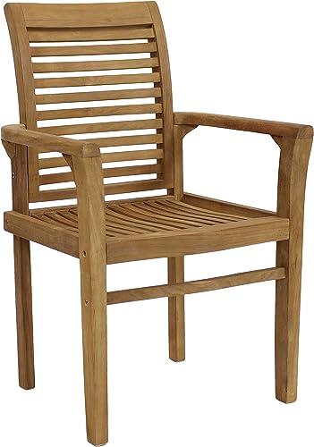 Sunnydaze Solid Teak Outdoor Armchair – Light Brown Wood Stain Finish – Slatted Chair – Patio, Deck, Lawn, Garden, Terrace or Backyard