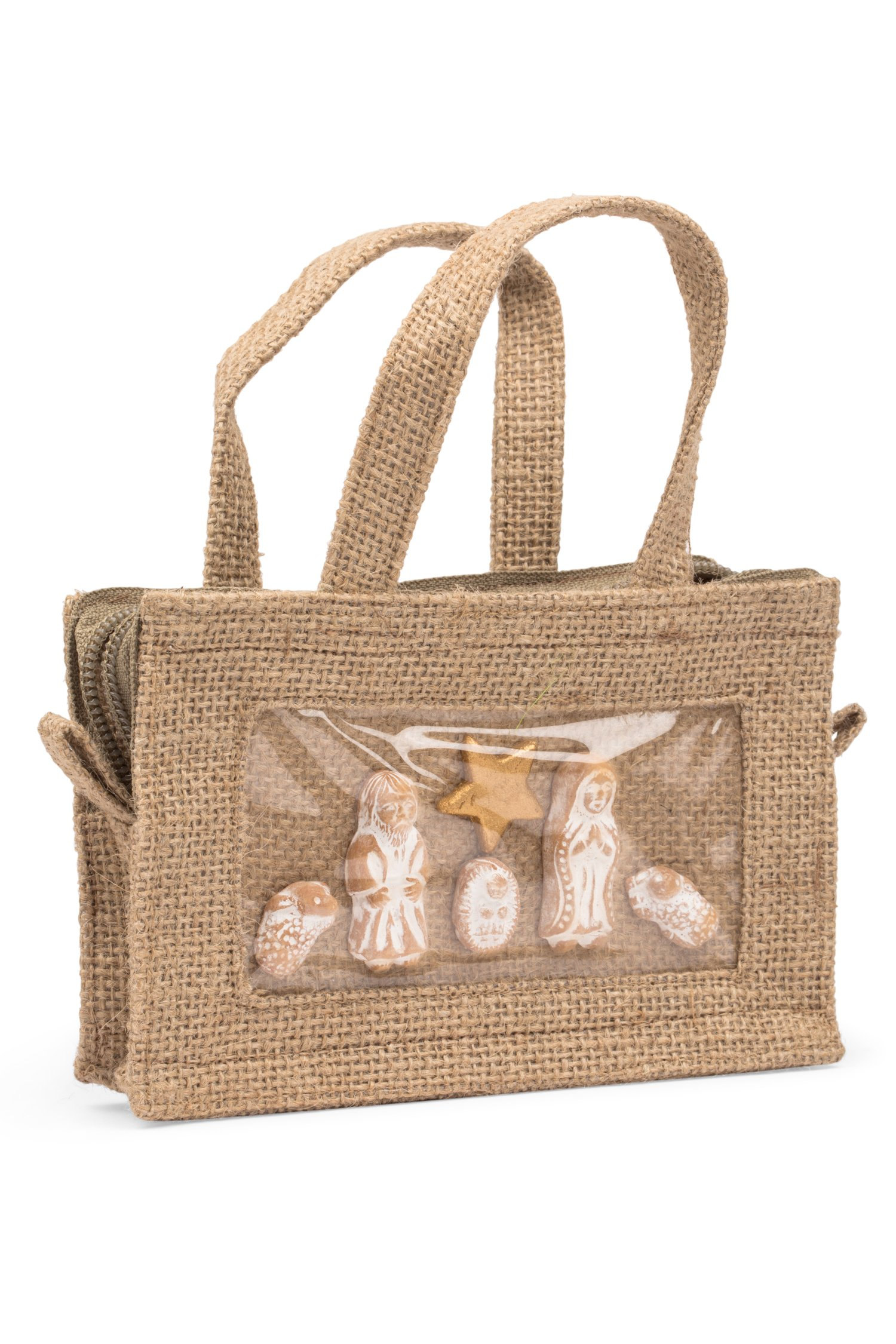 Ten Thousand Villages Jute Tote Bag With Nativity Scene 'Traveler's Nativity'