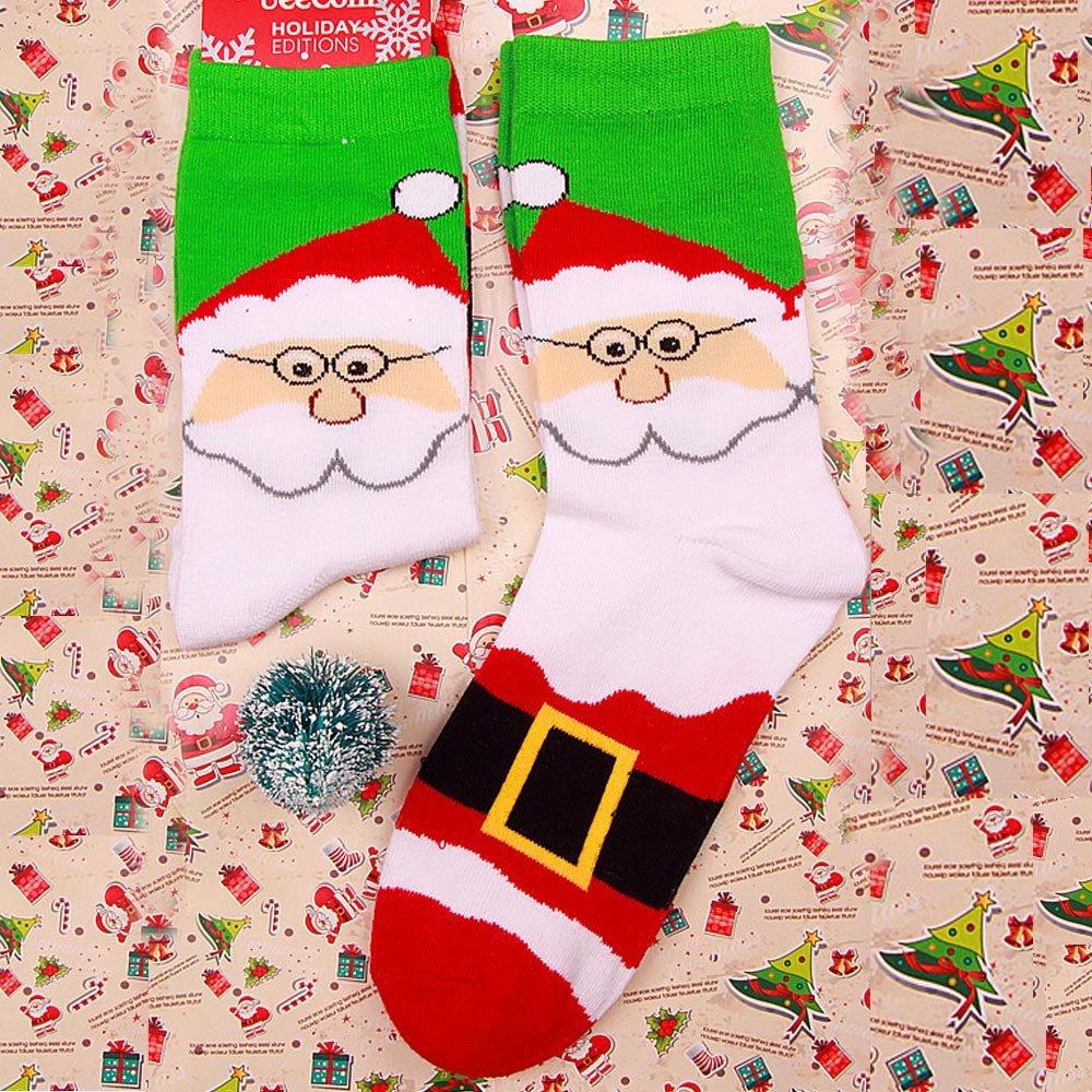 OverDose Ropa Calcetines Regalo De Navidad Raya CóModa AlgodóN De Nieve Unisex Estampado MuñEco De Nieve Alce Papá Noel Calcetines Dulces De ImpresióN ...
