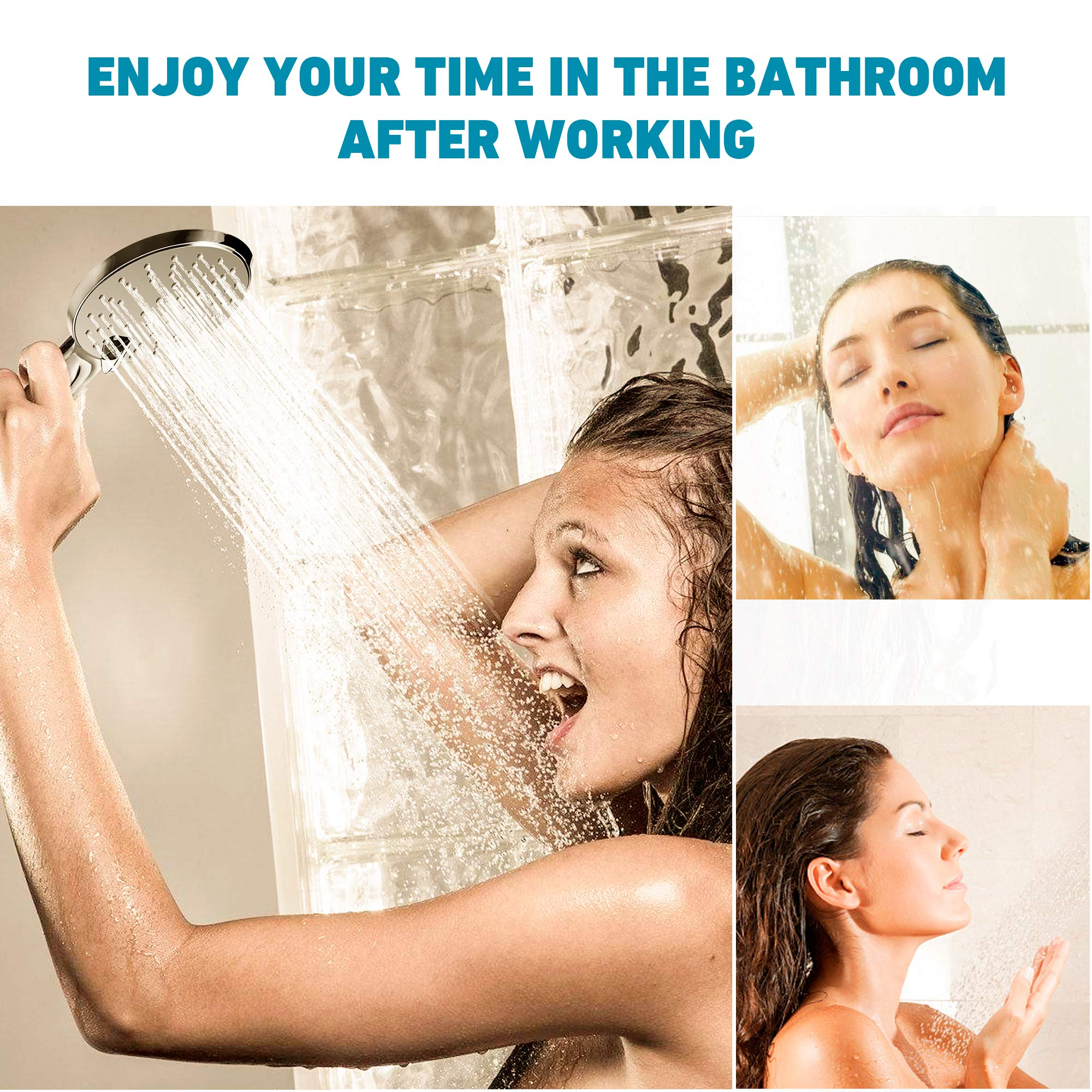 Hiseea Handbrause Duschkopf mit 3 verschiedenen Strahlarten, 20% Wassereinsparung, ABS-Material, Chrom