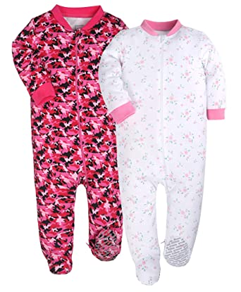 de6c52410761 Amazon.com  YXD Baby Girls 2-Pack Snug Fit Footed Pajamas 100 ...