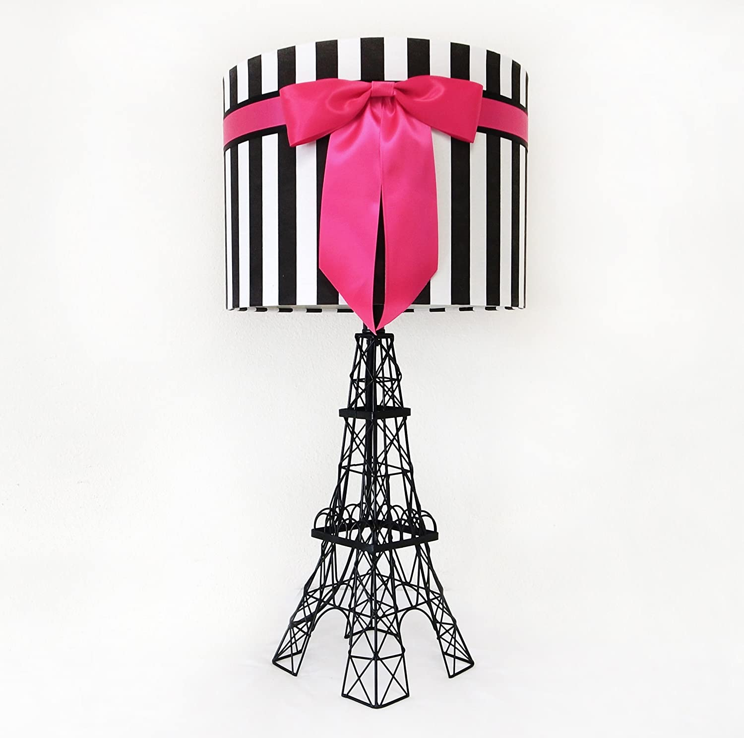 "24.5"" Eiffel Tower Table Lamp with Bowknot Shade (Deep Pink)"
