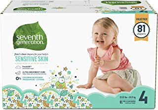 product image for Seventh Generation Baby Diapers for Sensitive Skin, Animal Prints, Size 4, 81 Count