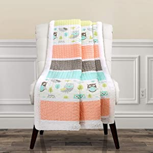 "Lush Decor Owl Stripe Sherpa Throw Blanket, 60"" x 50"", Coral & Turquoise"