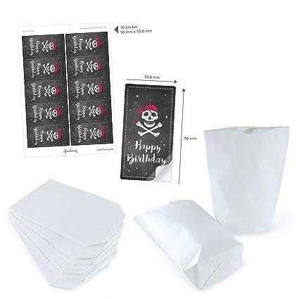 Set de bolsas de regalo de color blanco 14 x 22 cm + Pizarra ...