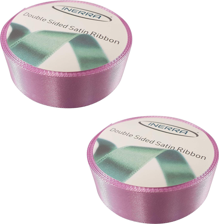 doble cara de lujo con borde tejido de 25 mm de ancho Lilac 2 rollos de 82 pies por rollo Cinta de raso Inerra