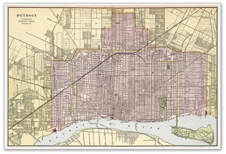 Antiguos Maps - Cram\'s Map of Detroit Michigan Circa 1901 - Measures 24 in  x 36 in (610 mm x 915 mm)
