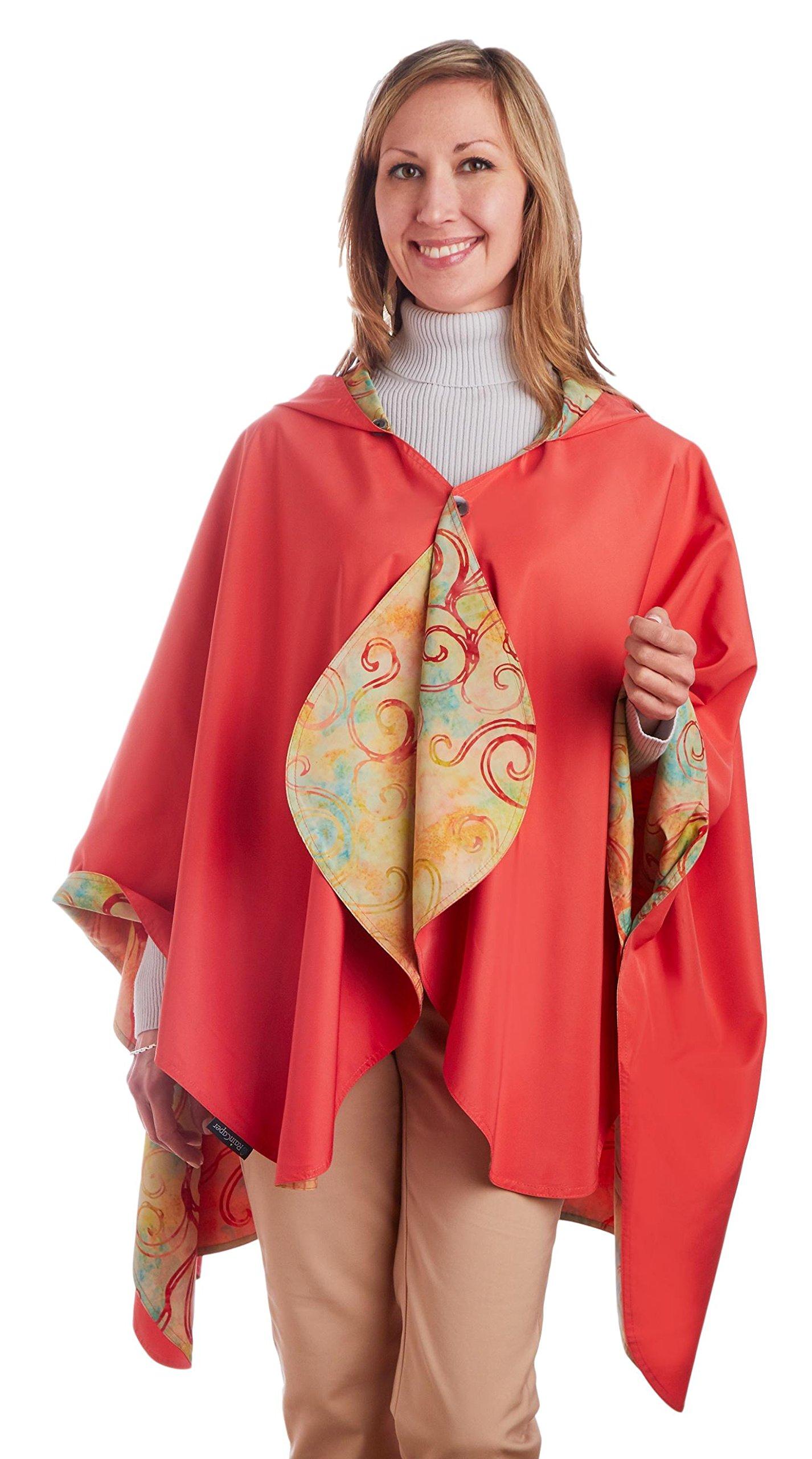 RainCaper Rain Poncho for Women - Reversible Rainproof Hooded Cape in Gorgeous Ultrasoft Colors (Coral & Watercolor)